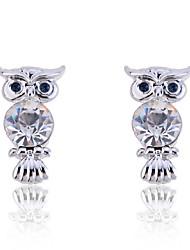 Fashion  Crystal Owl Stud Earrings