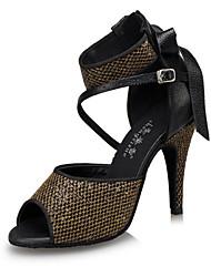 Customizable Women's Dance Shoes Latin Synthetic Stiletto Heel Gold