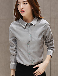 Women's Solid White / Gray Shirt , Shirt Collar Long Sleeve