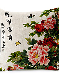 Fower Pattern Cotton/Linen Decorative Pillow Cover
