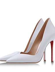 Women's Shoes Leatherette Stiletto Heel Heels / Pointed Toe Heels Wedding / Party & Evening / Dress White / Beige