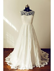 A-line Wedding Dress Sweep / Brush Train Jewel Lace with Bow / Button / Lace / Sash / Ribbon