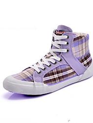 Women's Shoes Fabric Flat Heel Comfort / Round Toe Fashion Sneakers Casual Purple / Gray