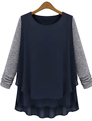 Unni Women's Color Block Blue T-Shirts , Casual Round Long Sleeve Plus Size