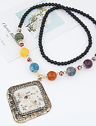 Fashion Color Shell Pendants Geometric Bead Necklace