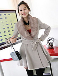 Women's Trench Coat,Solid Long Sleeve Fall Gray Faux Fur