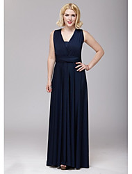 Floor-length Spandex Bridesmaid Dress - Dark Navy A-line V-neck