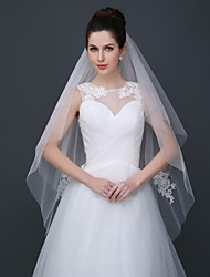 Wedding Veil Two-tier Fingertip Veils Cut Edge with comb and lace