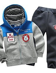 "Boy's Organic Cotton Hoodie & Sweatshirt / Clothing Set of 2pcs , Winter / Fall Long Sleeve ""LITTLE BEAR"""