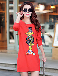 Women's Korean Long Cartoon Solid Color Wool Sweater, Pullover Slim Bottoming Knitwear Sweater Dress