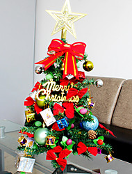 60cm Plastic Christmas Tree Set With Ornament Gift For Holiday Home Decoration