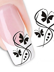 Water Transfer Printing Black Butterflies Nail Stickers