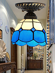 E27 220V 17*20CM 1-3㎡European Rural Creative Arts Stained Glass  Absorb Dome Lamp Led Light