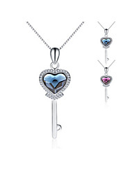 "Jazlyn® Platinum Plated 925 Sterling Silver Swaroski Elements Crystal ""Key To Your Heart"" Women's Couples' Necklace"