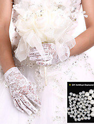 White/Black Wrist Length Fingertips Glove Lace Bridal Gloves Ladies' Party Gloves+DIY Pearls and Rhinestones