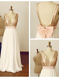 Formal Evening Dress A-line V-neck Floor-length Chiffon / Sequined with Bow(s) / Sash / Ribbon