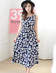 Women's Beach Dress,Floral Round Neck Maxi Sleeveless Blue Rayon / Polyester Summer