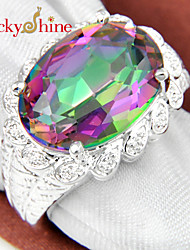 Luckyshine Sparking 925 Silver Fire Classic Oval Rainbow Mystic Topaz Crystal Gemstone Rings For Christmas Gift