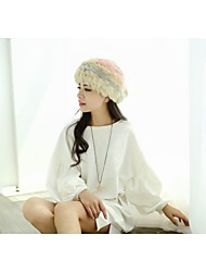 Women Winter Rabbit Fur Warm Colorful Beret Hat LD00120