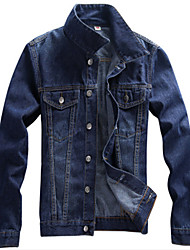 Men's Stand Coats & Jackets Plus Size, Denim Long Sleeve Casual / Work Fashion Winter Wshgyy