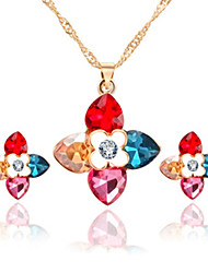 Rita Women's Korean-style High Quality Alloy Inlaid Stone Necklace And Earrings Jewelry Set