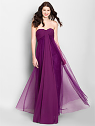 Knee-length Chiffon Bridesmaid Dress - Silver A-line Scoop