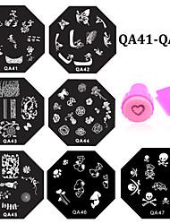 10pcs Nail Art Stamping Stamper Plates Set Nail Stamp Template Mould Nail Stencil Tools(QA41-QA50)