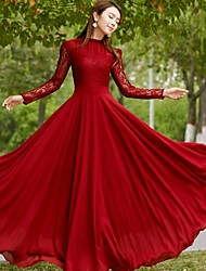 MAKE Women's Lace Red Dresses , Vintage / Sexy / Party Stand Long Sleeve