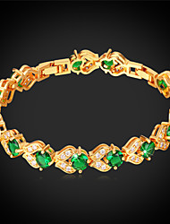 Vogue Bracelets For Women  Jewelry Gift Platinum / 18K Real Gold Plated Fashion Jewelry Green Crystal Bracelet