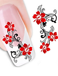 Water Transfer Printing Red Petunia Nail Stickers