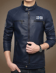 Men's Long Sleeve Slim Stand Collar Jacket , PU Casual / Plus Sizes Pure