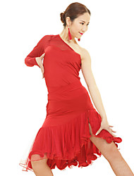 Latin Dance Dresses Women's Performance Rayon / Spandex / Polyester Ruffles 1 Piece Red