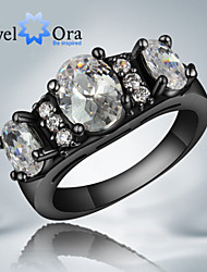 """New Popular Fashion Noble Luxurious White CZ Stone """"Black Gold"""" Plated Band Ring For Woman&Lady"""