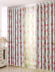 Country Curtains® Two Panels Bright-coloured Flower Blackout Printing Curtain