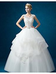 A-line Wedding Dress - White Floor-length Jewel Organza / Satin