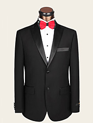 Suits Slim Fit Notch Single Breasted Two-buttons Wool Solid 2 Pieces Black