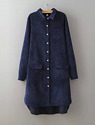 Women's Solid Blue / Red / Brown / Beige Shirt , Shirt Collar Long Sleeve