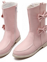 Women's Shoes Flat Heel Cowboy / Western Boots Boots Casual Black / Brown / Pink / White