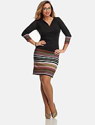Mulheres Vestido Tamanhos Grandes Bandagem Sólido / Listrado Altura dos Joelhos Decote V Algodão / Acrílico