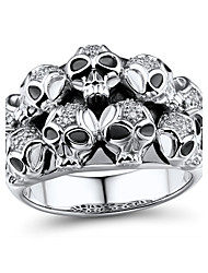 Men's Fashion Sterling Silver set with Diamond Skull Shape Ring