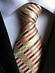 Men Wedding Cocktail Necktie At Work Beige Red Colors Tie
