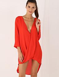 Women's Deep V Long Sleeve Irregular Casaul Loose Shirt Dress