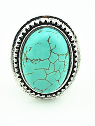 Vintage Look Antique Silver Oval Turquoise Amethyst Tiger Stone Adjustable Free Size Ring(1PC)