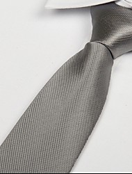 Men Silver White Polyester Silk Arrow Jacquard Twill Tie Necktie