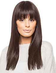 Human Virgin Remy Hair Soft Long Straight Hand Tied -Top Woman's Capless Wig