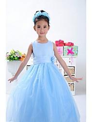 Ball Gown Ankle-length Flower Girl Dress - Satin / Tulle Sleeveless
