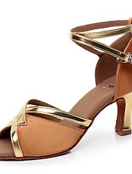 Customizable Women's Dance Shoes Latin / Salsa / Samba/Ballroom Sandals Satin Customized Heel Brown