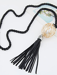 European Style Fashion Wild Tassel Pearl Ball Long Necklace