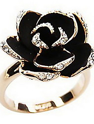 Women's Korean Version Black Rose Diamond Opening Ring