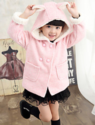 Girl's Fashion Simplicity Cotton Blend Tailored Collar Woolen Winter Overcoat